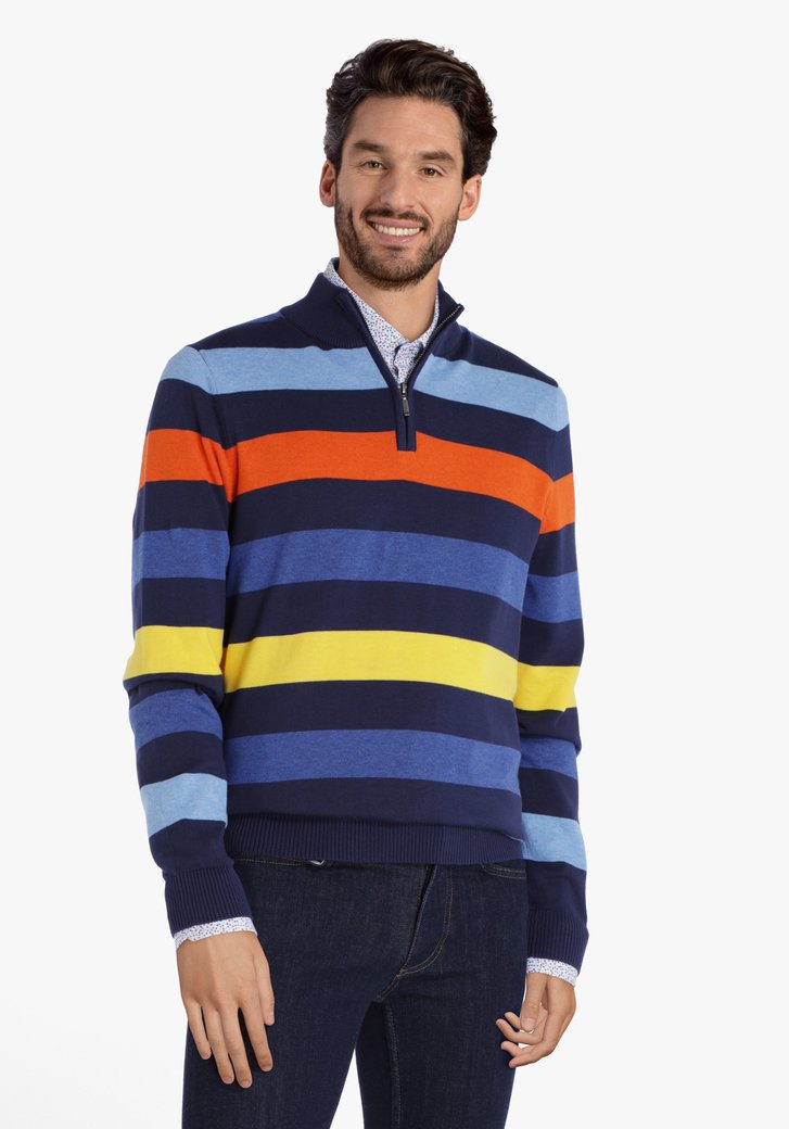 Blauwe trui met gekleurde strepen en korte rits