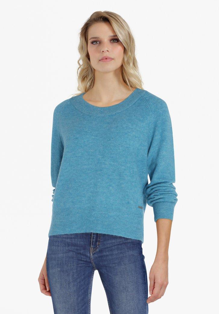 Blauwe trui met glitterdraad