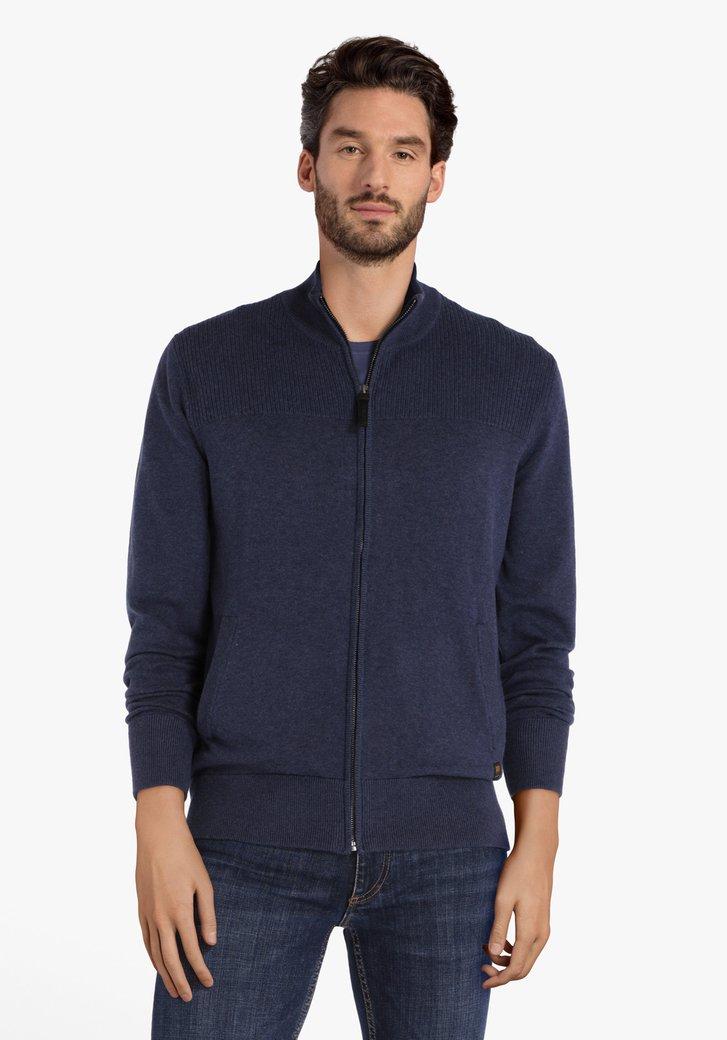 Blauwe trui met rits