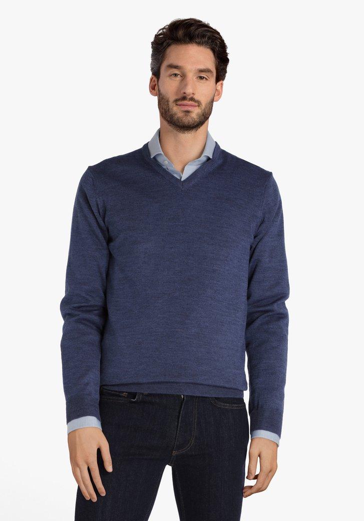 Blauwe trui met V-hals en wol
