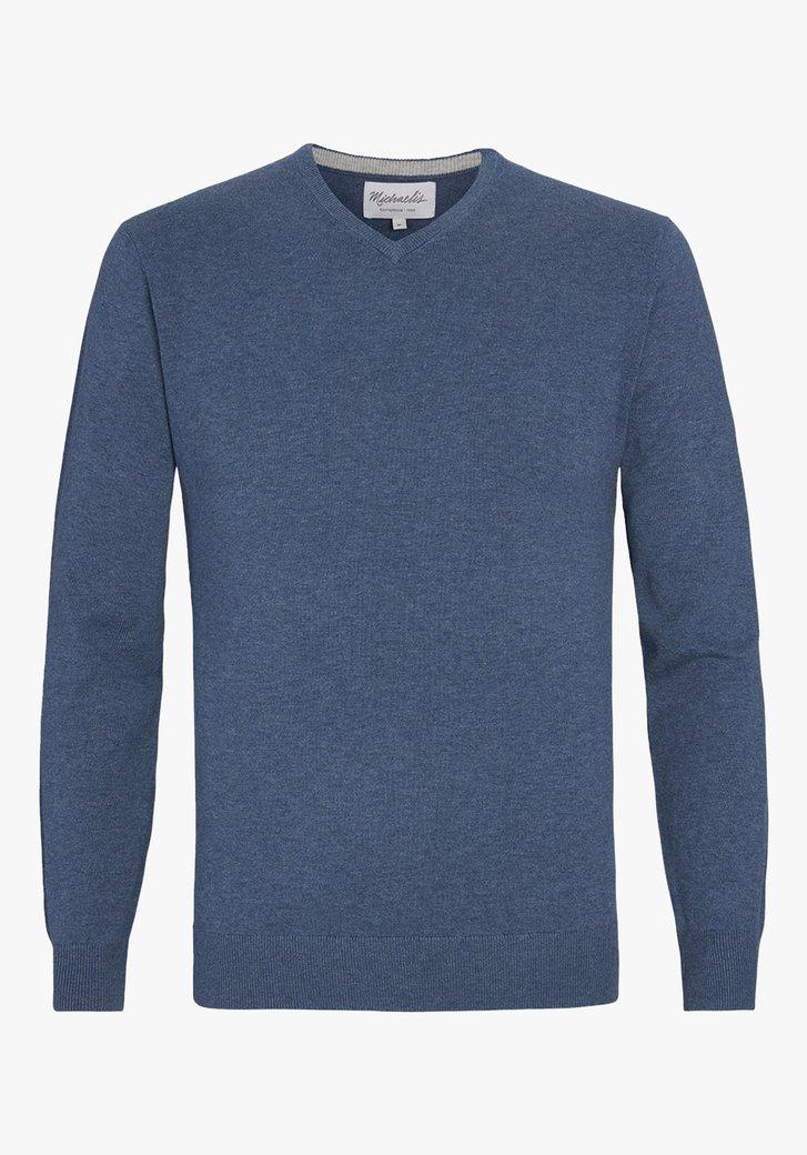 Blauwe trui met V-hals