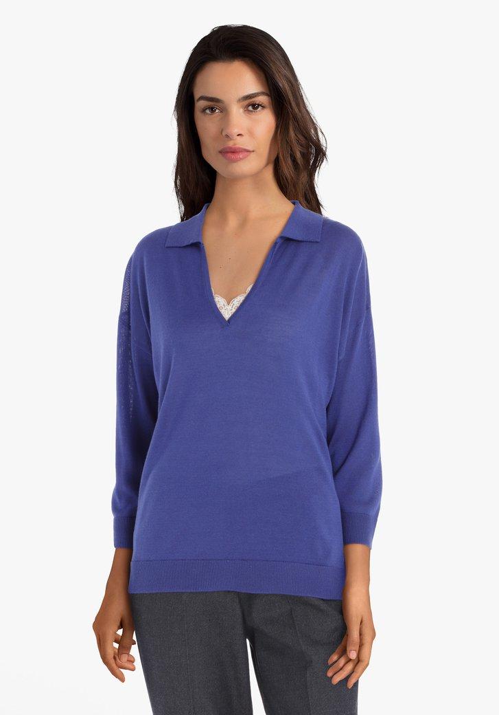 Blauwe trui met wol