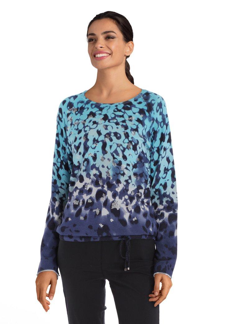 Afbeelding van Blauwe trui met zilverkleurig motief