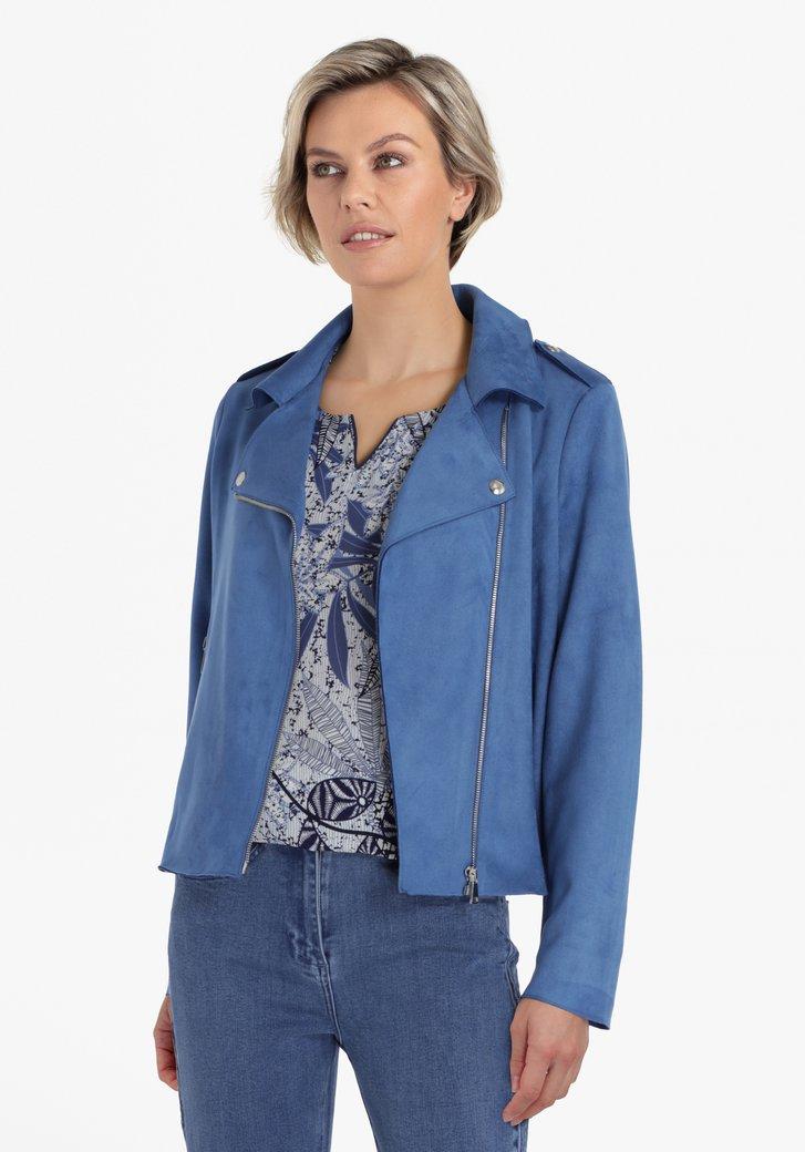 Blauwe vest met schuine rits in suède