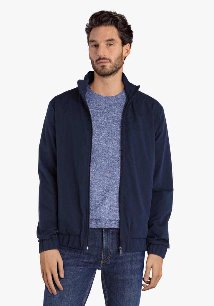 Blauwe vest zonder kap