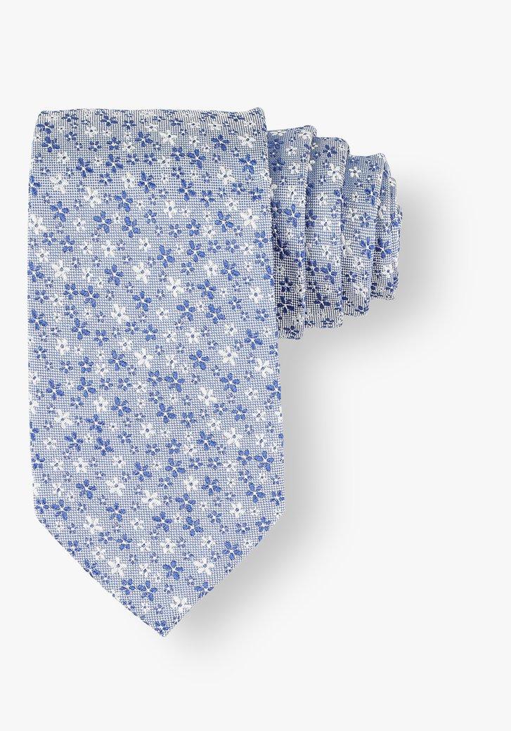 Blauwe zijden das met bloemen