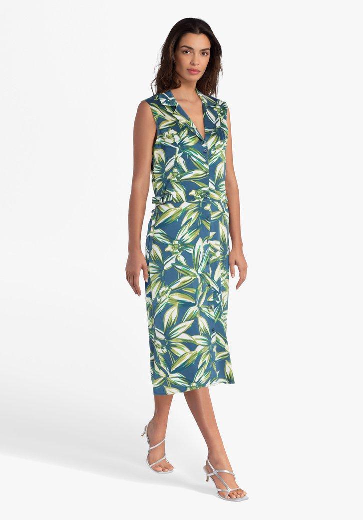 Blauwgroen kleed met botanische print