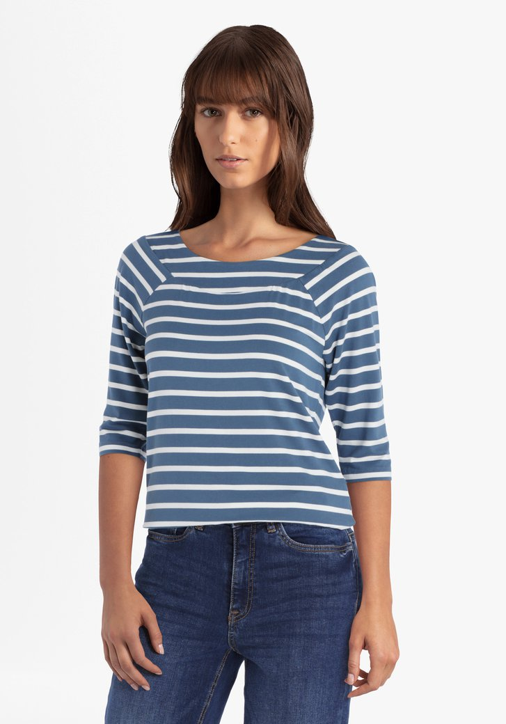 Blauwgroen-wit gestreepte T-shirt met 3/4 mouwen