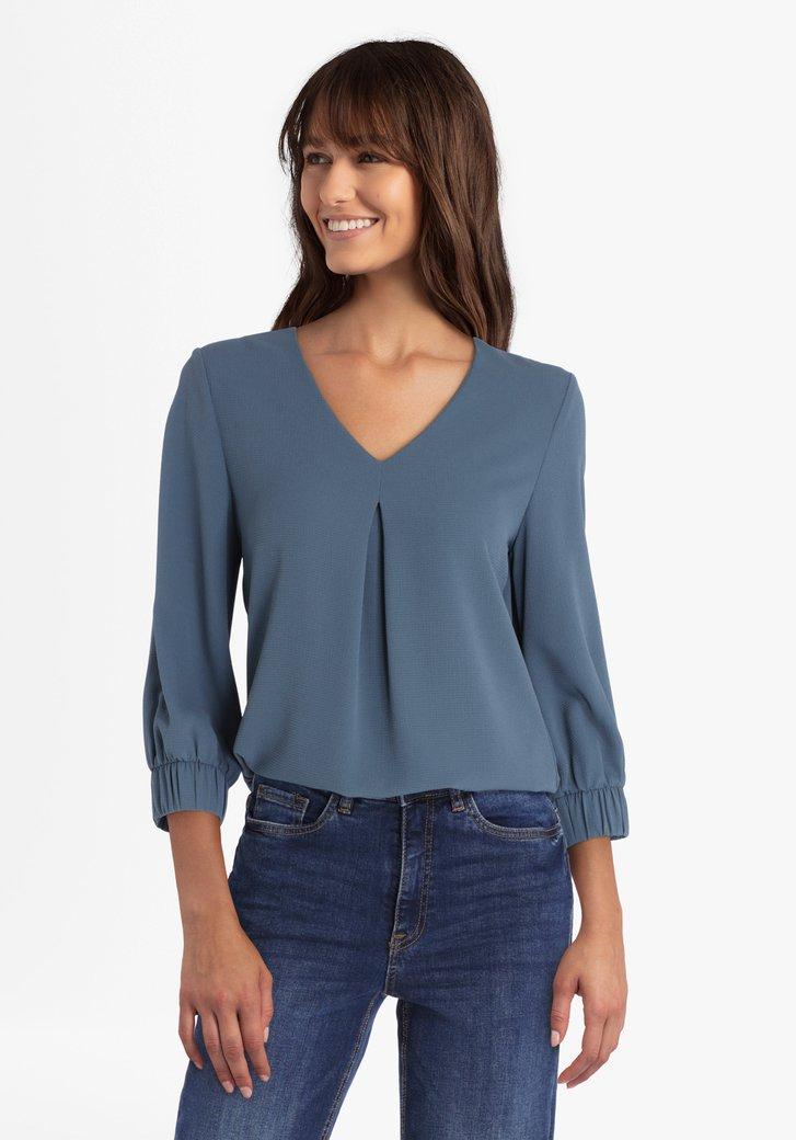 Blauwgroene blouse met V-hals