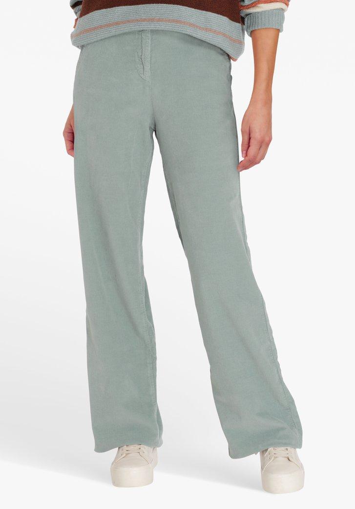 Blauwgroene broek in ribfluweel - straight fit