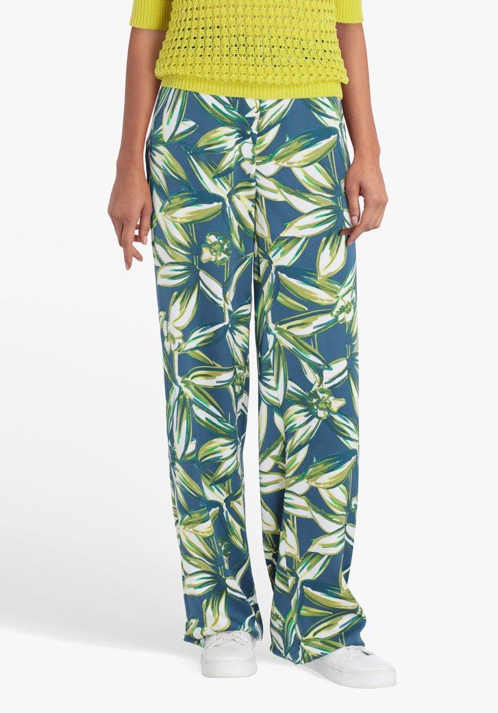 Blauwgroene broek met botanische print
