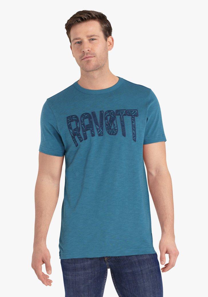 Blauwgroene T-shirt met opschrift