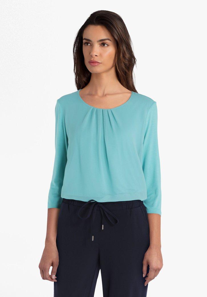 Blauwgroene T-shirt met voorkant in viscose