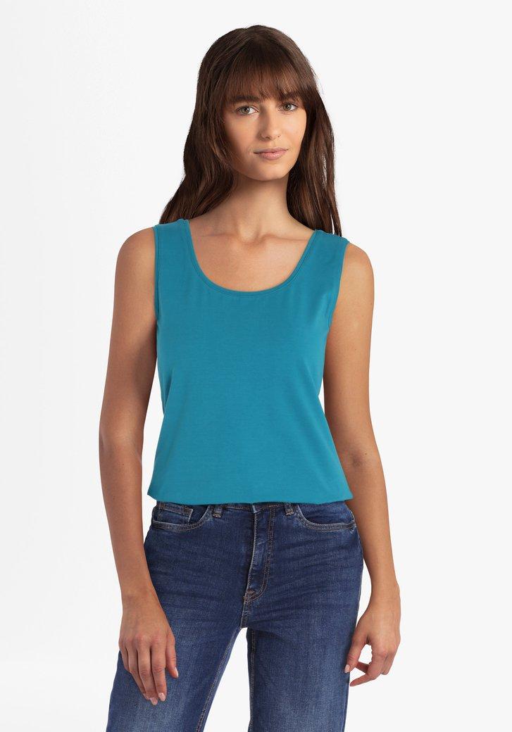 Blauwgroene top met brede schouderbandjes