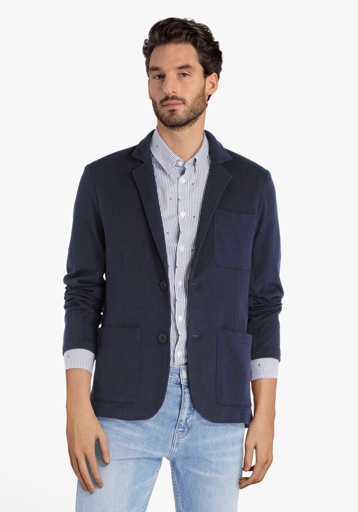 Blazer bleu marine en tissu texturé - slim fit