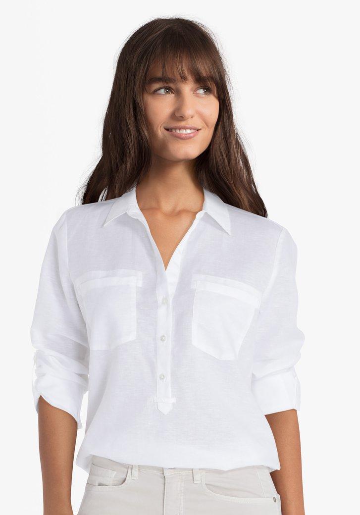 Blouse blanche en coton et lin