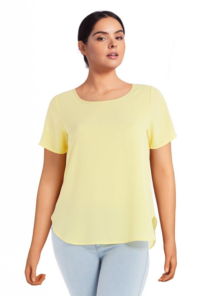 Blouse jaune avec encolure ronde
