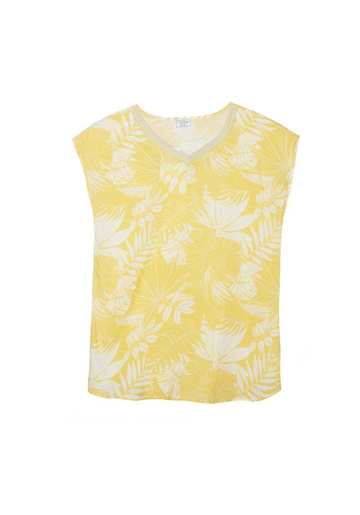 Blouse jaune en voile à imprimé exotique