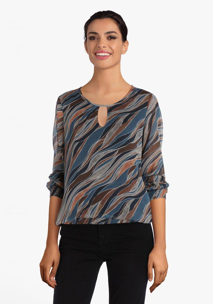 Blouse met blauw-bruin-grijs patroon