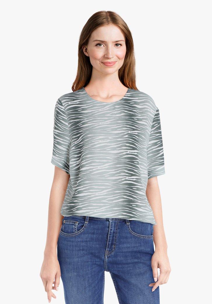 Blouse met wit-zeegroene zebraprint
