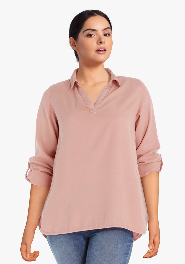 Blouse rose saumon en lyocell