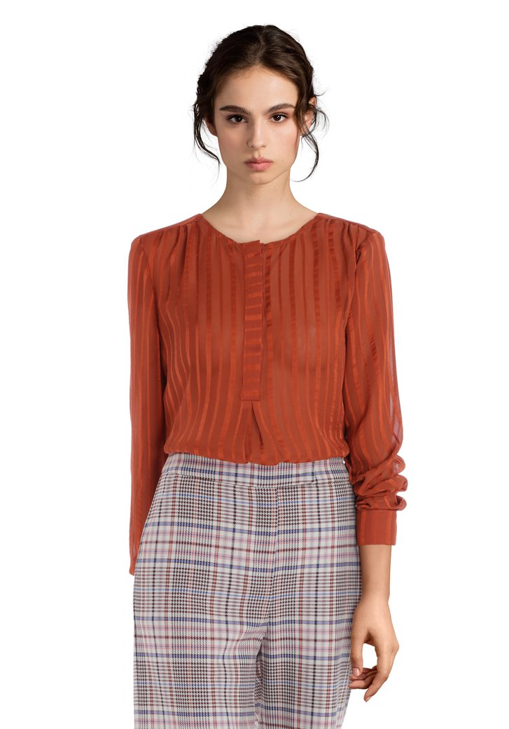 Blouse semi-transparente orange rouille