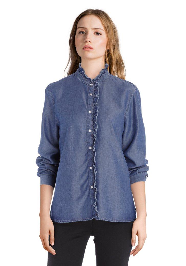 Blouse style jean bleu foncé en lyocell