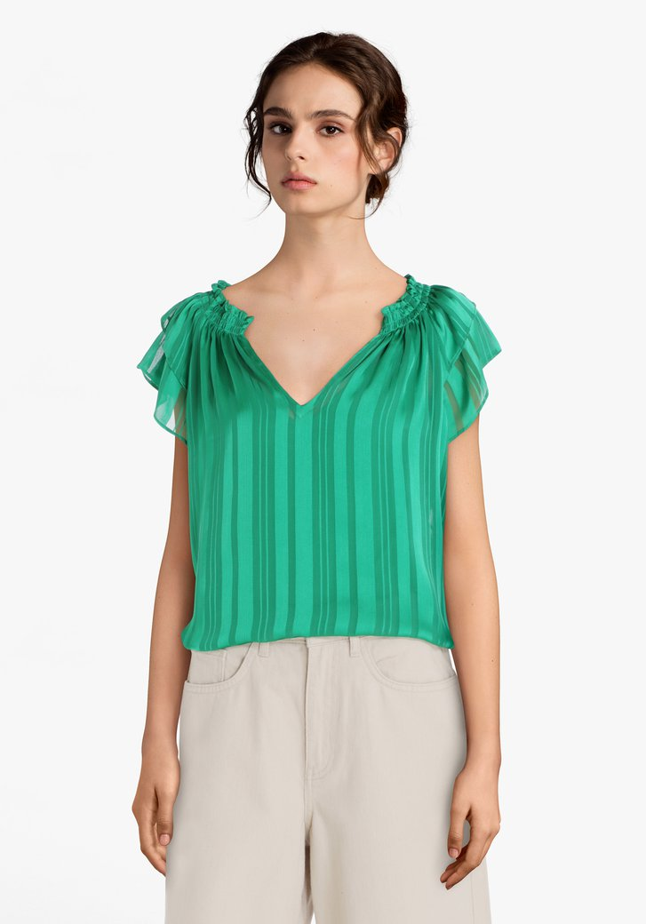 Blouse verte à rayures semi-transparent