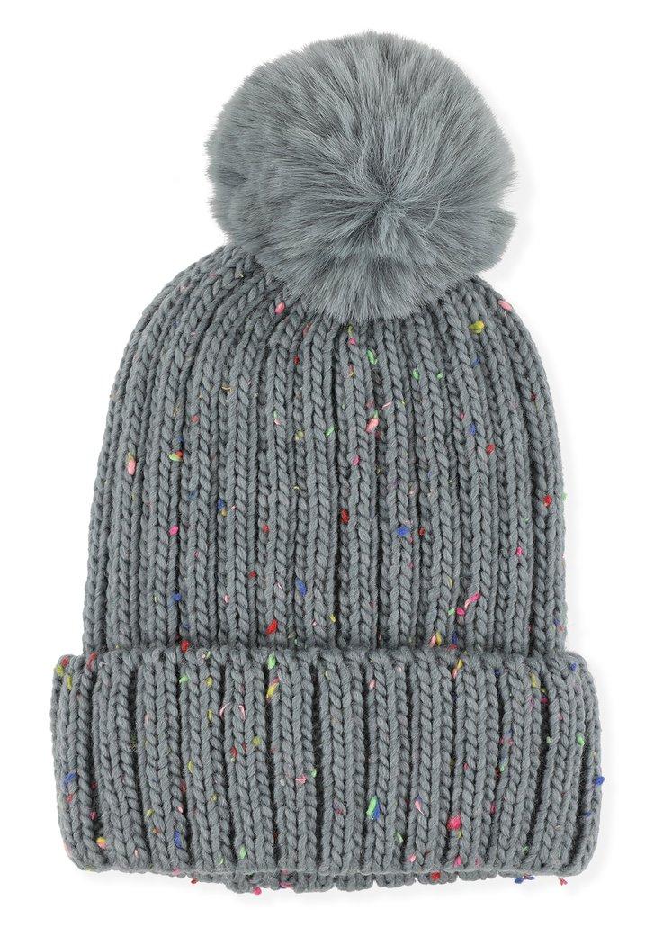 Bonnet gris à tâches colorées et pompon