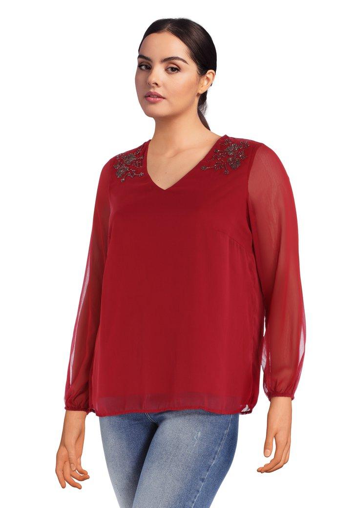 Afbeelding van Bordeaux blouse met pailletten