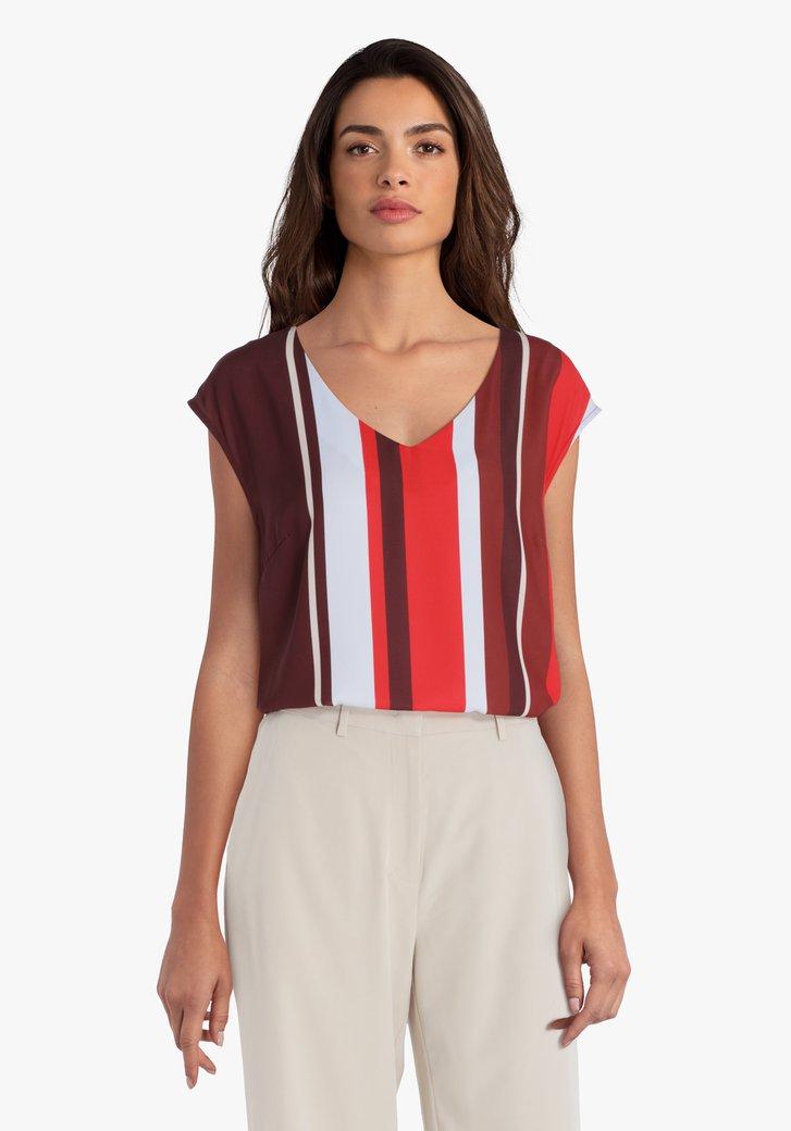 Bordeaux blouse met strepen