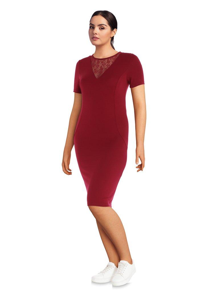 Afbeelding van Bordeaux kleed met halslijn in kant