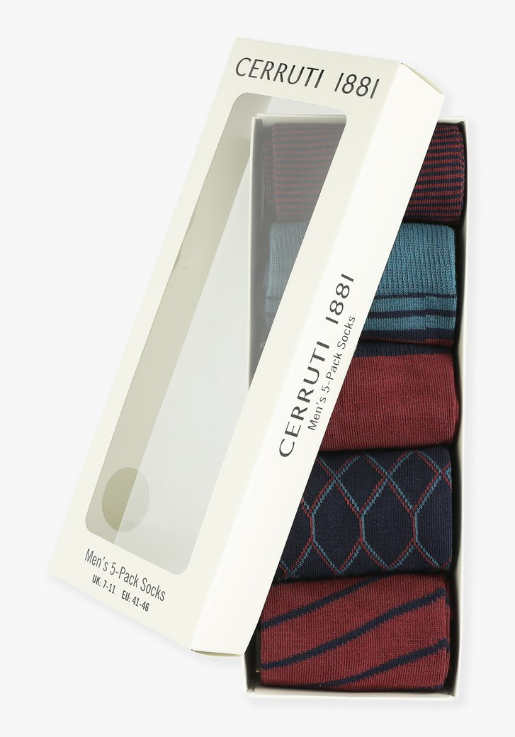 Bordeaux-staalblauwe sokken, 5-pack