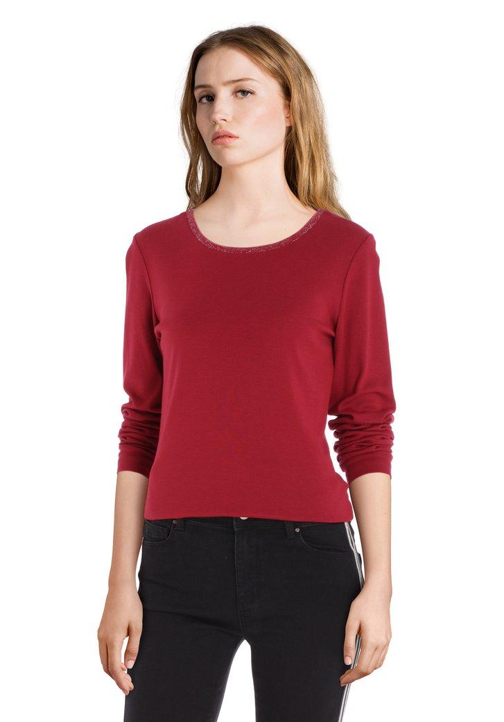 Afbeelding van Bordeaux T-shirt met ronde hals in lurex