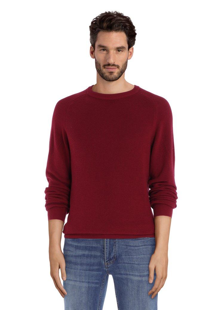 Afbeelding van Bordeaux trui met ronde hals in geribd katoen