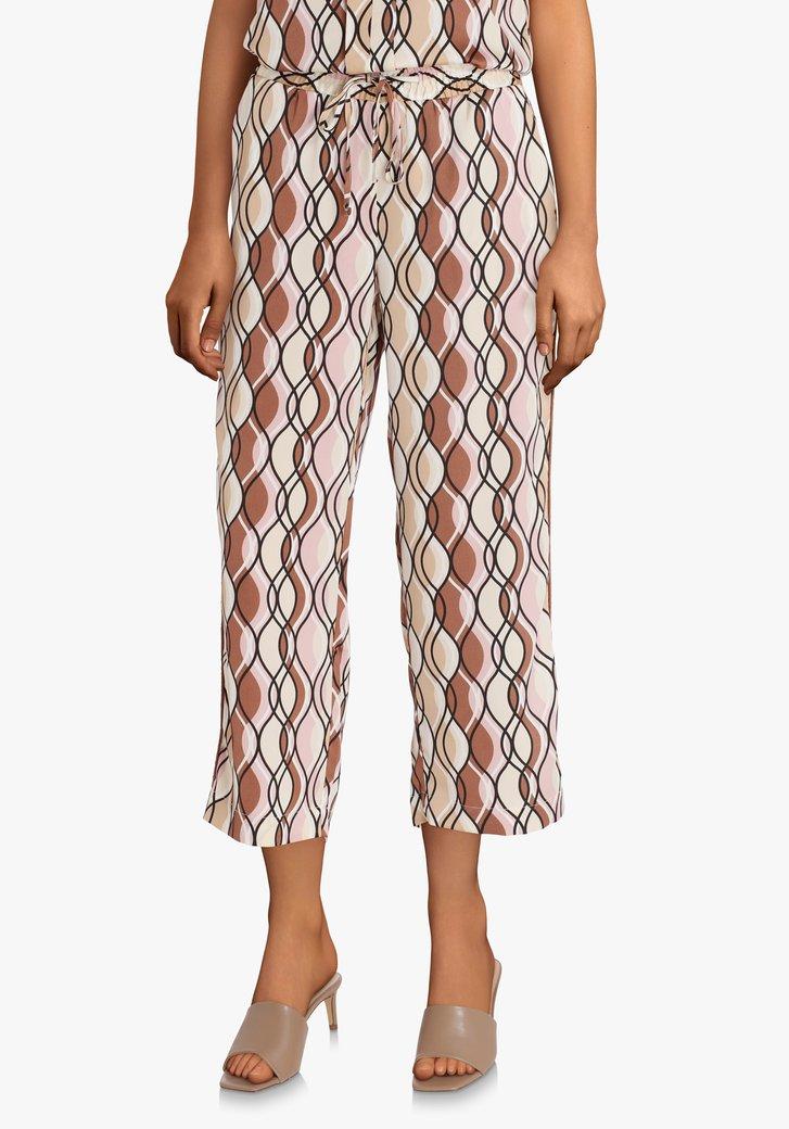 Broek met gekleurd patroon en elastische taille