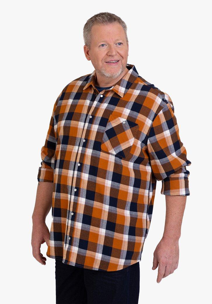Bruin-blauw geruit hemd - regular fit