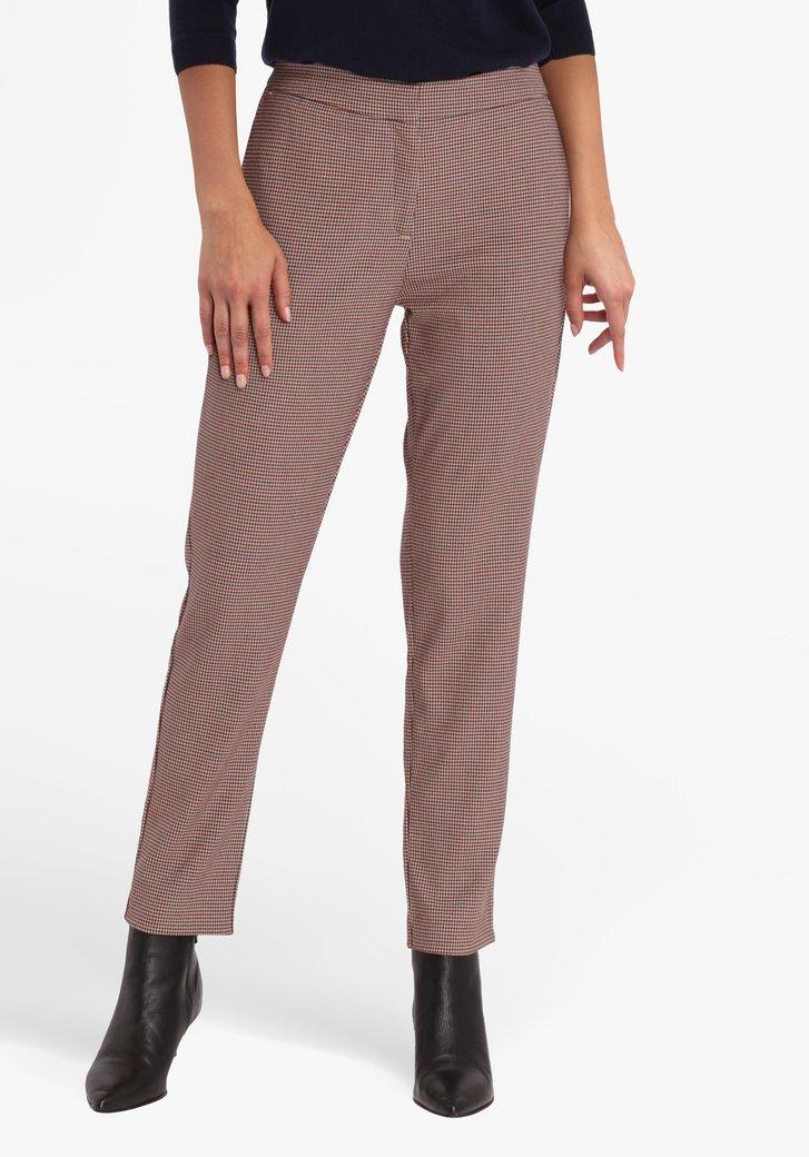 Bruin-blauw geruite broek