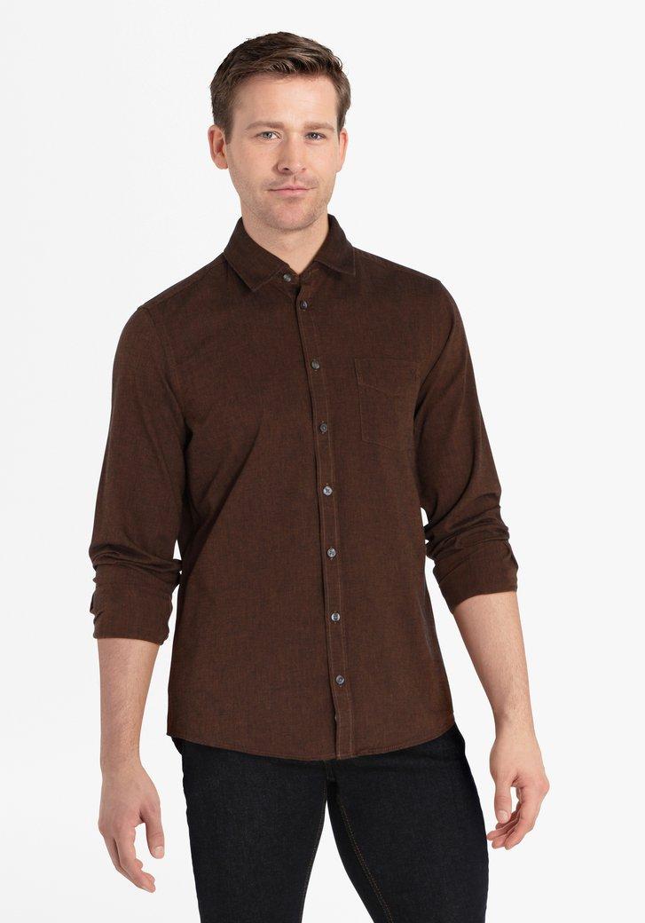 Bruin hemd - regular fit