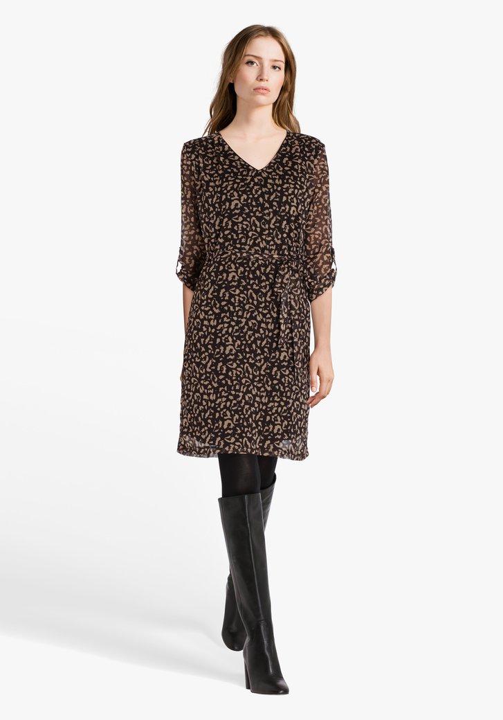 Bruin kleed met print en glitterdraad
