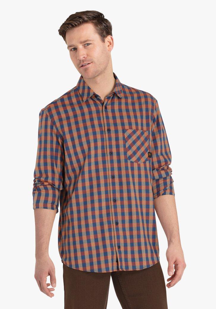 Bruin-navy geruit hemd - regular fit