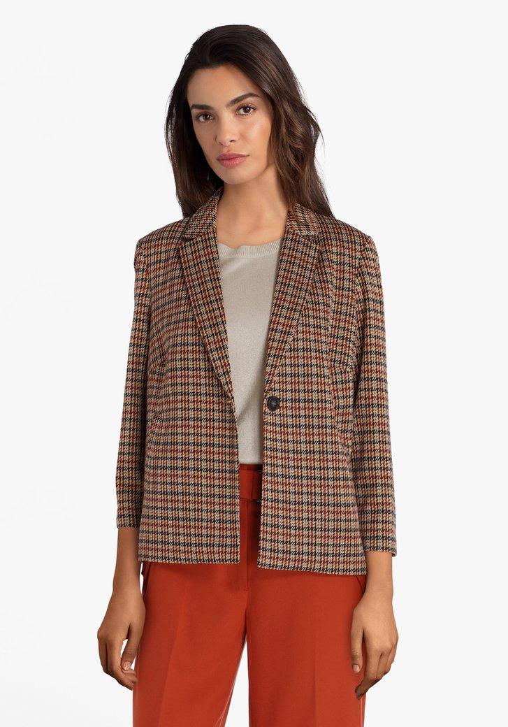 Bruin-roeste blazer met pied-de-poule