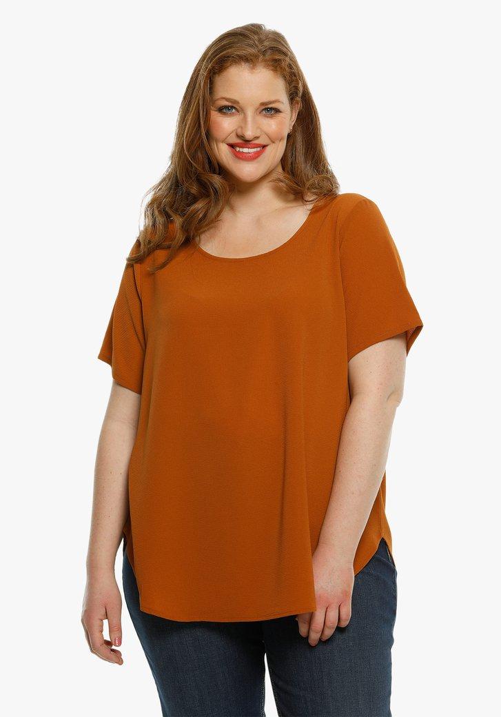 Bruine blouse met korte mouwen