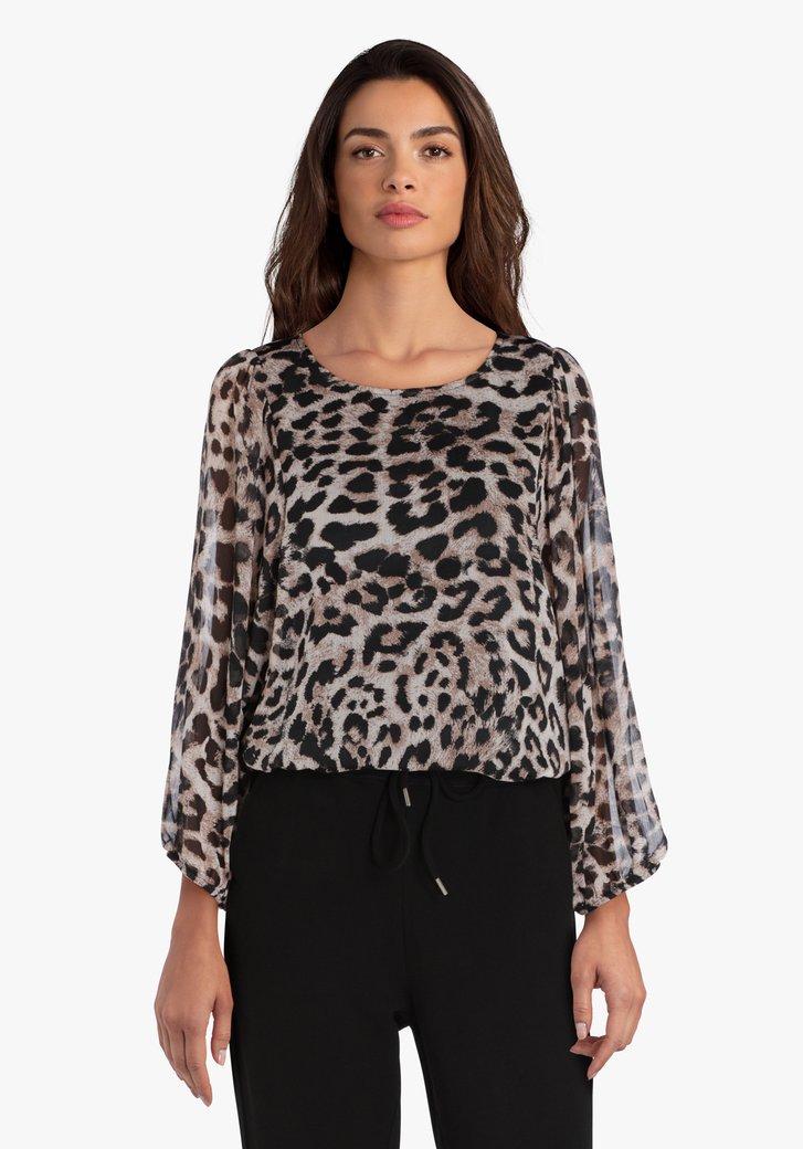 Bruine blouse met panterprint