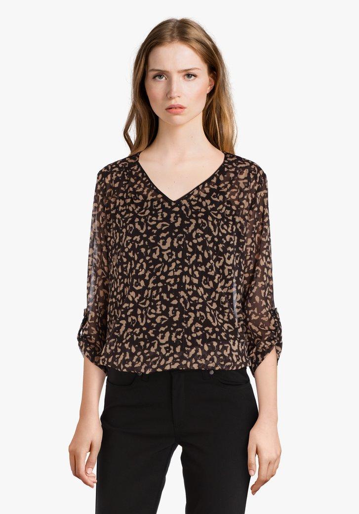 Bruine blouse met print en glitterdraad