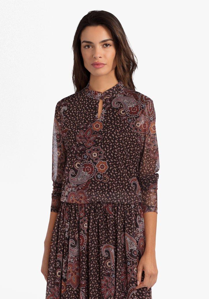 Bruine blouse met print