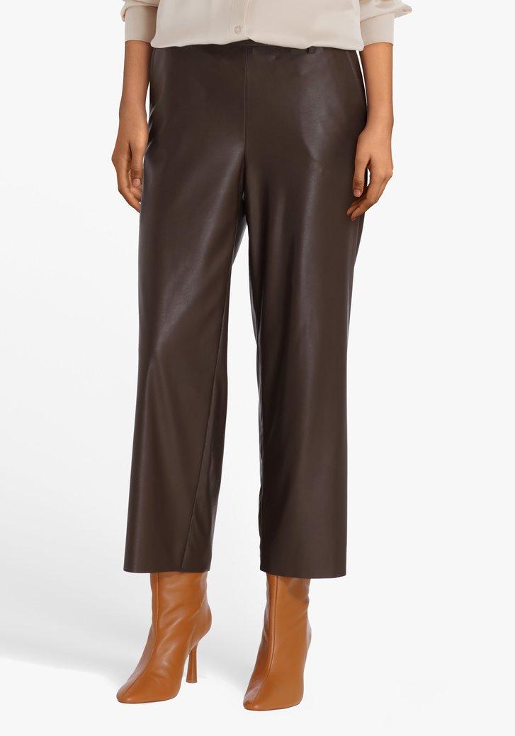 Bruine broek in lederlook - straight fit