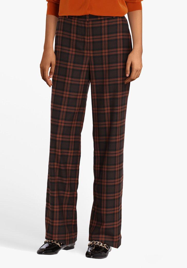 Bruine geklede broek met ruiten