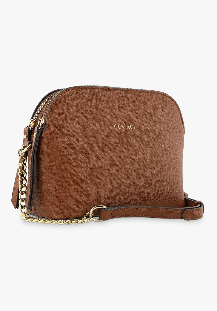 Bruine handtas met 3 vakken