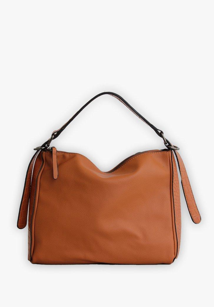 Bruine handtas met accentvlak